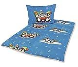 Micro Flanell Kinder Bettwäsche 80x80 + 135x200 cm Pinguine mit Reißverschluss dunkelblau