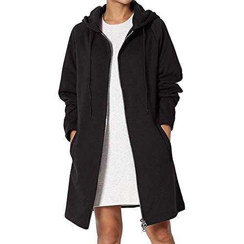 Preisvergleich Produktbild i-uend 2019 Damen Mantel Frauen Langarm Pullover Bluse Vorne Offen Jacke Mantel Lange Oberbekleidung Tasche Hoodie Zipper Hoodies Sweatjacke Mantel