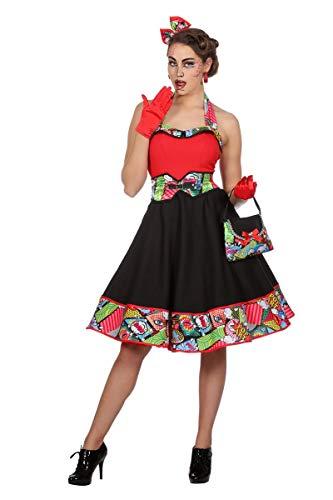 Wilbers Damen Kostüm Pop Art 50er Jahre Kleid Karneval Fasching Gr.48