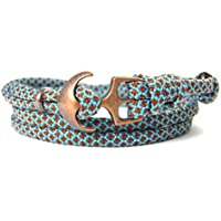 HanseCharms - Maritimes Surfer Anker Armband-aus US Paracord Typ III-Armband-Verstellbar-Unisex-Wickelarmband-Geschenkidee-Neon Turquoise-Chocalate Brown Diamonds