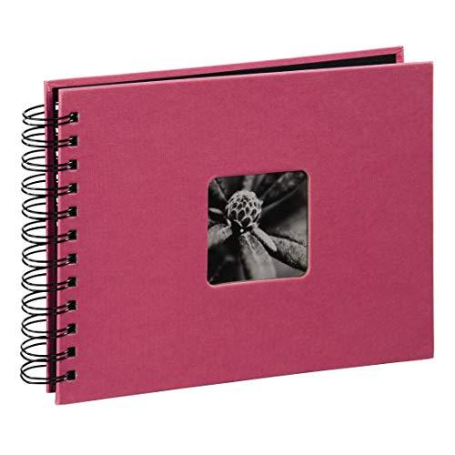 Hama Fotoalbum Fine Art, 50 schwarze Seiten, 25 Blatt, Spiralalbum 24 x 17 cm, mit Ausschnitt für Bildeinschub, orchideen-pink -