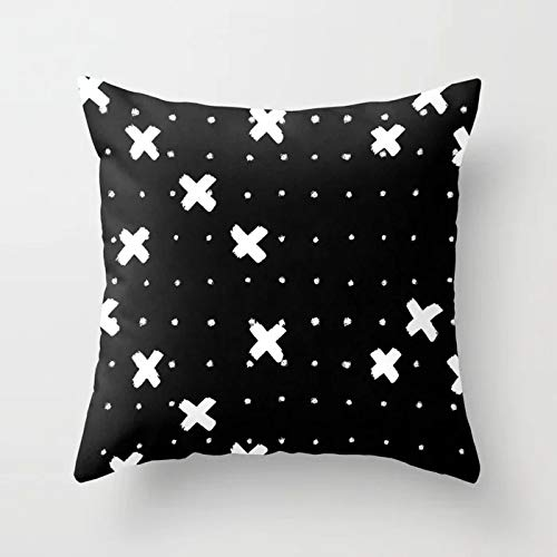 PotteLove Geometric Black and White Striped Dotted Grid Triangular Art Polyester Square Decorative Throw Pillow Covers Case Cushion Pillowcase for Sofa Bench Bed Home Decor 22