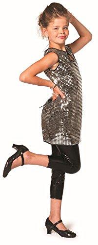 Kinder Kostüm Disco Pailletten Kleid Silber Karneval Fasching Gr.128