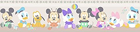Tapeten Rand Disney Baby Mickey Minnie Mouse Kinder - Rosa MK3500-2
