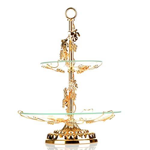 Obstschale und Kuchen Ständer, okomatch 2Etagen Servierplatte mit Glasteller rund & Edelstahl Golden Halter für Geburtstag/Party/Hochzeit/Home, OKO-FBS-0503-JJ17A, goldfarben, Large