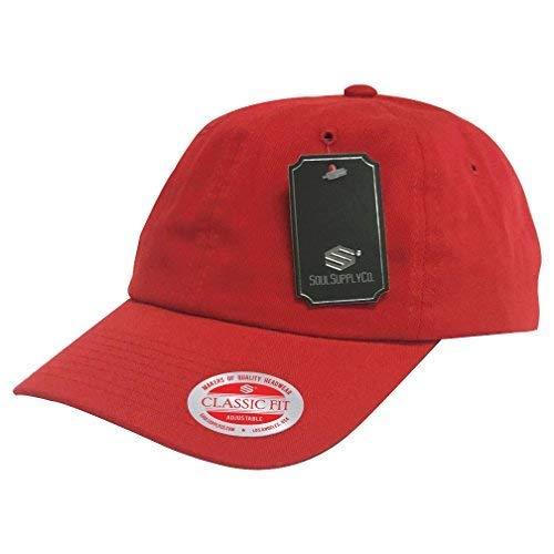 Soul Supply Unisex Unstrukturierte Baumwolle, Uni, Blanko Dad Mütze Baseball Cap Polo 601, Unisex-Erwachsene, Rot, One Size (Schmuck Store Supply)