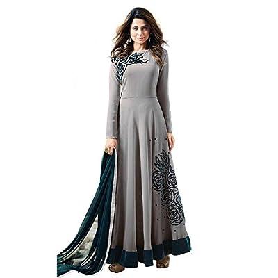 Generic Women's Georgette Semi Stitch Salwar Suit (Ethnic_ER11079_Grey_Free Size)