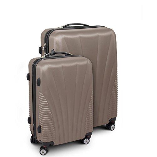 Kofferset L + XL 2-teilig Reisekoffer Trolley Hartschalenkoffer ABS Teleskopgriff Modell 'Funnel' … (Braun)