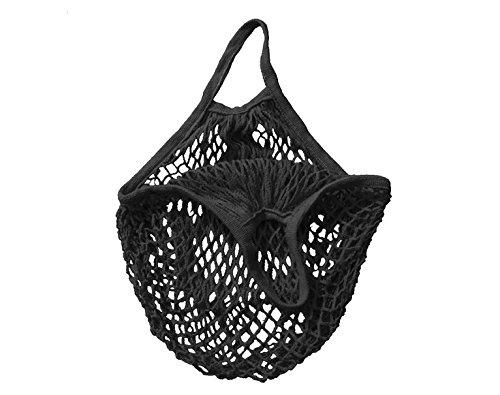 F & Z F & Z Tragbare Einkaufsnetztasche Obsttasche Handtasche Baumwolle Mesh Netz Netz Schultertasche, Schwarz, Einheitsgröße -