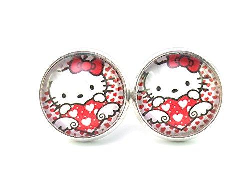 Stechschmuck handmade Ohrstecker Katze Cat Kätzchen Kitsch Kawaii Silberfarben Hello Kitty Damen Kinder 14mm 1 Paar Nickelfrei -