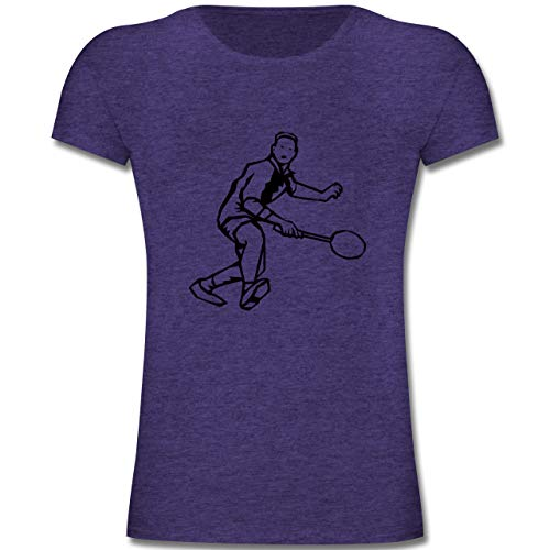 Sport Kind - Badminton Action - 164 (14-15 Jahre) - Lila Meliert - F131K - Mädchen Kinder T-Shirt