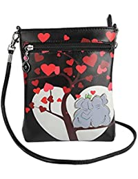 Stylish Multi Color Printed PU Leather Sling Bag For Girls / Women / Ladies 3 Zipper Pocket Cross Body Bag By... - B073RKCMWM