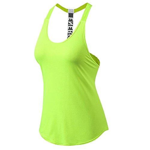 YiJeee Damen Sport Fitness Running Yoga Tops Pro Ärmellos Quick Dry Training Tank Tops Grün M
