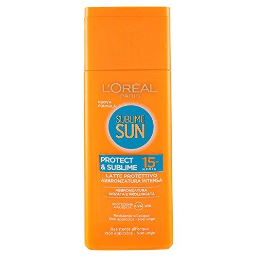 L'oréal paris protezione solare sublime sun protect & sublime, protezione solare media ip15, latte protettivo abbronzatura intensa, 200 ml
