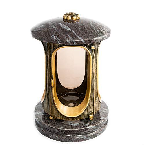 Afterglow Stilvolle Grablaterne Elégant Granit Orion dunkel Höhe 23 cm/Ø 15 cm Grableuchte Grablicht Grablampe Granitlampe Granitlaterne Bronze mit Sockel Grabschmuck