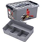 Sunware Q-Line schoenenpoetsdoos + 1 inzetstuk - 6 liter - 30 x 20 x 14 cm - grijs/zwart