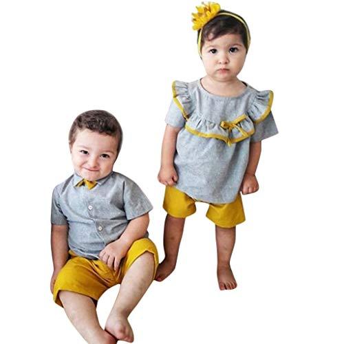 (12M-7Y) Kinder Brüder und Schwestern tragen Puppe Kragen gerüschte Tops + einfarbige Shorts + Haarband dreiteiliger Anzug für Kleinkinder, Cosplay-Kostüm, Zuhause, Party, Geburtstag Gr. 80 cm, gelb