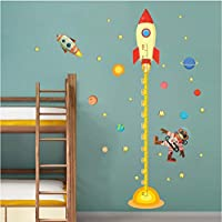 ytwww123 Diy Outer Space Planet Monkey Pilot Rocket Home Decal Height Measure Wall Sticker For Kids Room Baby Nursery Growth Chart Gifts