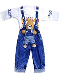 f9742b1a226 Niknod Kids Full Length Teddy Denim Dungaree with Full Sleeves T-Shirt for Baby  Girl