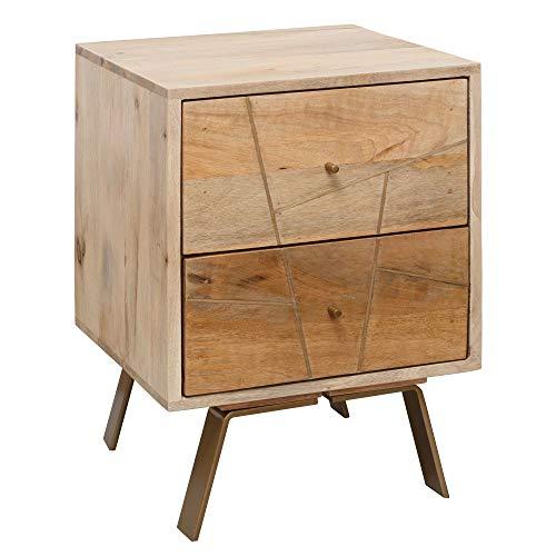 FineBuy Nachtkonsole SAKIR 40x56x40cm Mango Massivholz Nachtschrank hoch | Landhaus Nachtkommode Boxspringbett | Nachttisch mit Schubladen | Nachtkästchen Nachttischschrank Holz | Beistelltisch massiv