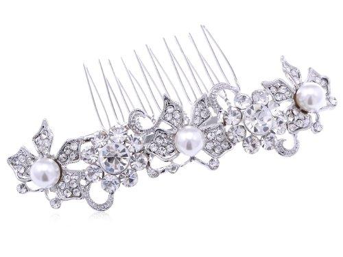 Alilang Argenté incrusté de strass Fausse Perle papillon Mode Peigne à cheveux