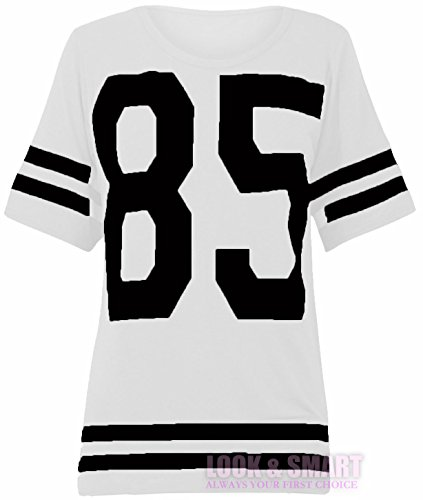 Frauen American Football JERSEY TOP 66 CHICAGO DRUCKEN VARSITY T-SHIRT EU 36-42 (EU 40/42 UK 12/14, 85-Weiß(white)) (Tops Football American)