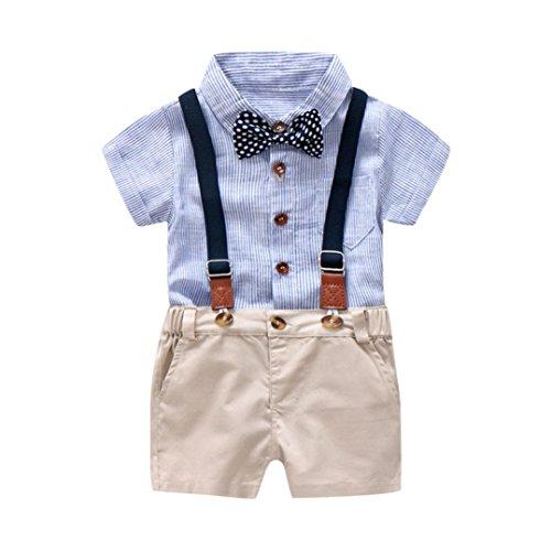Jungekleidung Set, Sonnena Baby Kleikind Junge Kurzarm Gentleman Krawatte Shirt Hemd Tops + Bib Pants Hosen Outfit Set Sommer Tägliche Baumwolle Babykleidung Babyanzug für 1-3 Jahre (2 Jahre, Blau)