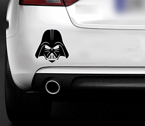 MR WHEEL TRIMS Adhesivo Multiusos para Coche, Pared, Ventana, Muebles u Ordenador, diseño de Darth Vader de Star Wars, Color Negro