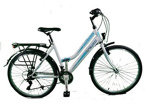 breluxx® 26 Zoll Damenfahrrad Mädchenrad Citybike weiß - 21 Gang Shimano + Beleuchtung