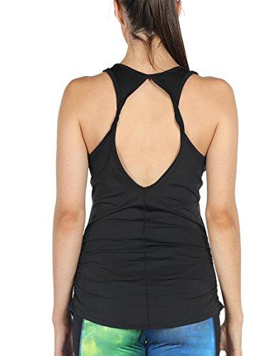 icyzone Damen Yoga Sport Top Lang - Fitness Gym Laufen Shirt Running Tanktop Vest (S, Black*)
