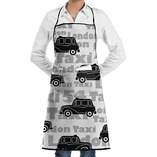 deyhfef Unisex Black Car Pattern Chef Apron with Pockets Commercial Restaurant And Home Kitchen Apron for Chef,Baker,Servers,Waitress,Waiter,Craftsmen