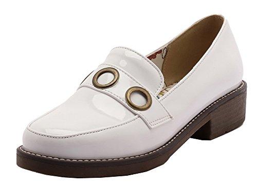 Talon Chaussures Tire Légeres Couleur Blanc Bas AgooLar Femme Rond Verni Unie à Zwwq6z0E
