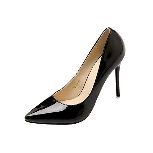 Evedaily Femme Escarpins Vernis Bout Pointu PU Cuir Sexy Talon Haut Aiguille Chaussures de Soiree Mariage Noir