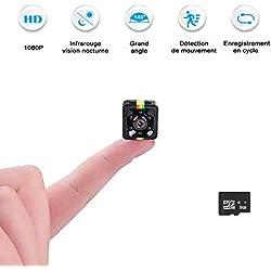 Mini Caméras Espion,FLYLINKTECH Cam Cachée Full HD 1080p Portable Micro Intégré avec Vision Nocturne et Carte SD 8G Caméra de Surveillance , Voiture, Bureau etc