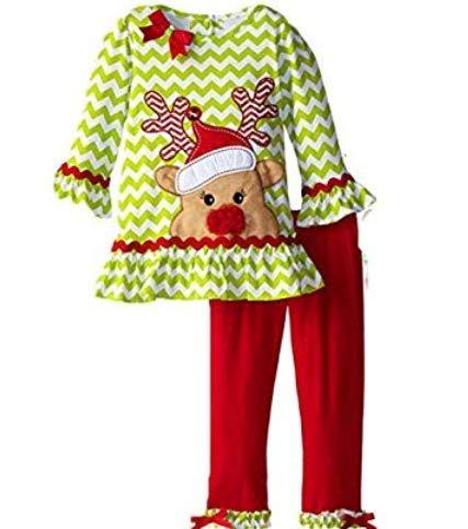 Hemore für Kinder Herbst Weihnachtsmann, langärmlig, aus Baumwolle, Cartoon, Hirsch (Grün + Rot) 120 cm Style-1 Weihnachten Dekoration für Erinnerungen