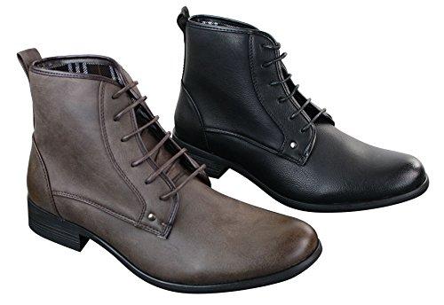 Herrenschuhe Retro Design Schwarz Braun Militär Arme Stil Vintage Braun
