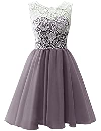 Dresstells reg; Short Tulle Prom Dress Bridesmaid Homecoming Gown with Lace