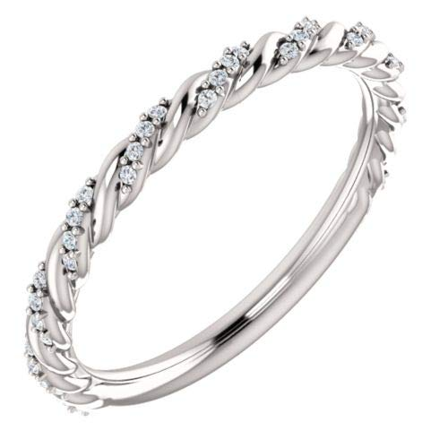 Platinum 1/8 ctw Diamond Pave Twisted Anniversary Band Ring - Size 7
