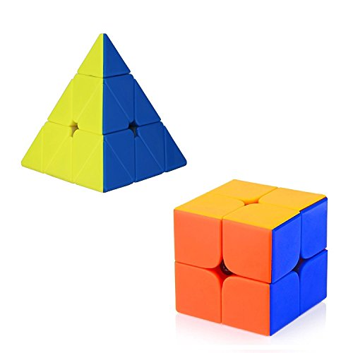 Rose International Combo Stickerless Pyraminx Triangle Magic Cube + 2x2 Twist Puzzle