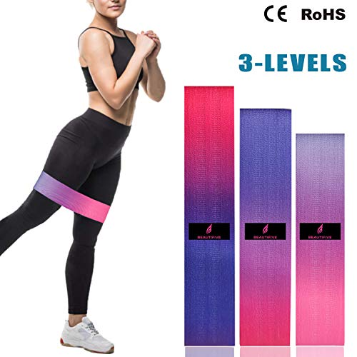 Beautifive Resistance Hip Bands 3er Pack, Fitnessbänder Gymnastikband Set, Loop Fitness Bänder Training, Bestes Widerstandsbänder Krafttraining, Trainingsband für Booty, Beine, Po & Hüften