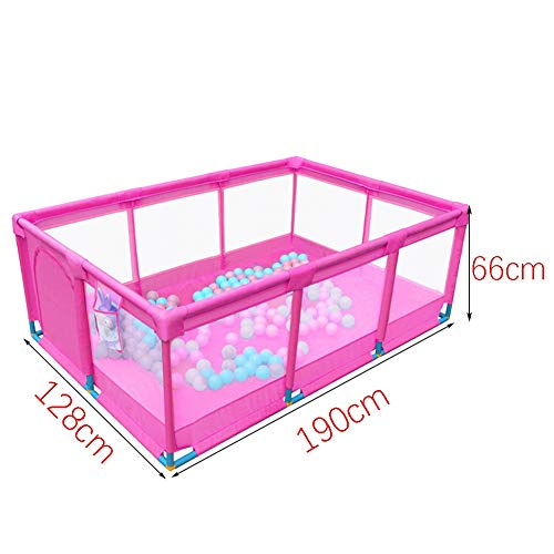 Playpens Portable Baby Pink,Kids toddler Indoor Outdoor Safety Game Playard Fence, 190×128×66cm (Size : Fence+200ball+mat)  BSNOWF