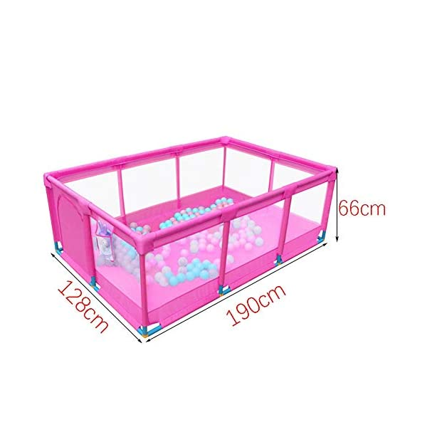 Playpens Portable Baby Pink,Kids toddler Indoor Outdoor Safety Game Playard Fence, 190×128×66cm (Size : Fence+200ball+mat) Playpens  2