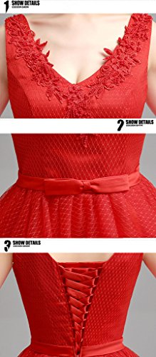 Eyekepper Robe de demoiselle d'honneur longue robe de soiree bal Rouge