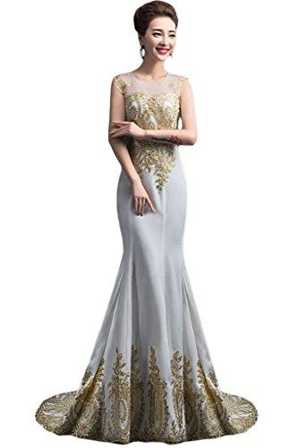 Victory Bridal Wunderschon Damen Lang Abendkleider Ballkleider mit Schleppe  Partykleider Festliche Silber