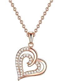 Rafaela Donata Damen-Kette mit Anhänger Herz Sterling Silber rosegold 42 cm Basis-Kette + 7 cm Verlängerung - Kette mit Anhänger Herz Herz Anhänger Kette Halsketten für Frauen
