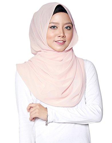 ❤️ SAFIYA - Hijab Kopftuch Halstuch für Damen I Kopfbedeckung 75 x 180 cm I Islamische Muslim Gesichtsschleier, Schal, Haartuch, Pashmina, Turban I Chiffon - Hellrosa