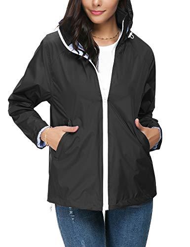 ZHENWEI Regenjacke Damen Wasserdicht Outdoorjacke Regenmantel Schwarz Softshelljacken Walk Kapuzenjacke Streetwear - 3