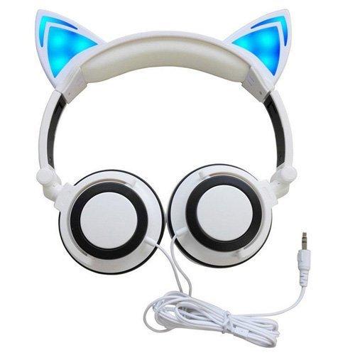 Katze Ohr Kopfhörer, musickoo Blinken Glowing Cosplay Fancy Cat Ohr Kopfhörer faltbar Over-Ear Gaming Headsets Kopfhörer mit LED Flash Licht für iPhone 7/Plus, Android - Halloween-bar-spiele-ideen