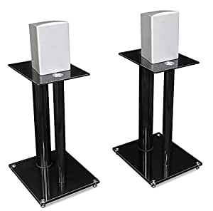 Mount-It! Premium Aluminum and Glass Speaker Stands for Home Theater Satellite Speakers (Black)