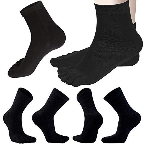 REKYO 6 Pares De Calcetines Con Punta De Algodón Para Hombre Calcetines Con Cinco Dedos Para Hombres Otoño E Invierno, Suave Y Cómodo (Negro)